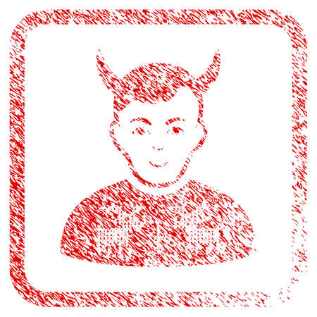 Deers Pullover Horned Husband rubber stamp watermark. Icon raster symbol with textured design and dust texture in rounded square. Scratched red stamp imitation. Man face has cheerful emotion. Stock Photo