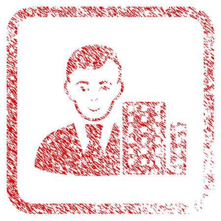 City Architect rubber seal watermark. Icon raster symbol with grungy design and dust texture in rounded rectangle. Scratched red sign. Guy face has joy expression. Stock Photo
