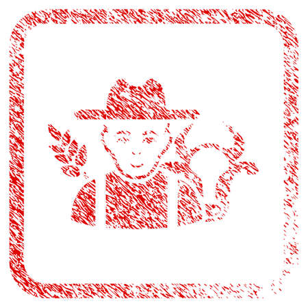 Farmer rubber stamp imitation. Icon raster symbol with grunge design and dirty texture in rounded square. Scratched red stamp imitation. Dude face has joy emotion. a dude from farmer with joy face.