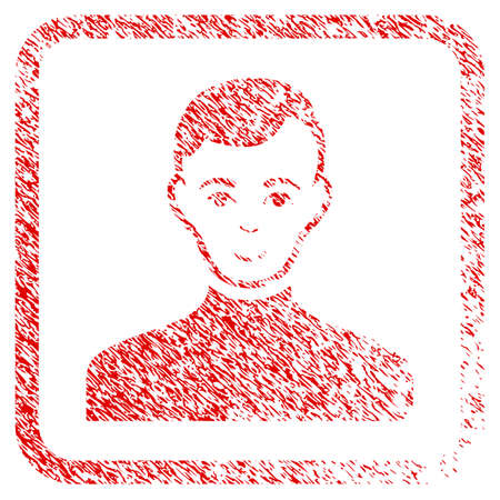 Male rubber seal stamp watermark. Icon raster symbol with unclean design and dirty texture inside rounded square. Scratched red sign. Dude face has smiling mood. a boy from male with glad face.