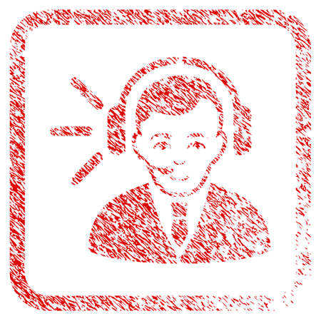 Call Center Operator rubber seal imitation. Icon raster symbol with grungy design and unclean texture inside rounded square frame. Scratched red stamp imitation. Human face has joy expression.