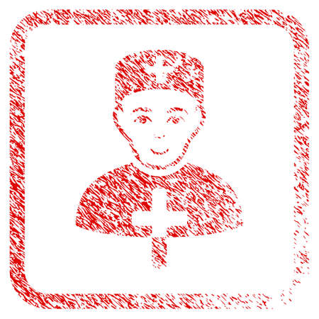 Church Doctor rubber seal stamp watermark. Icon raster symbol with distress design and dust texture in rounded squared frame. Scratched red emblem. Dude face has glad expression. Stock Photo