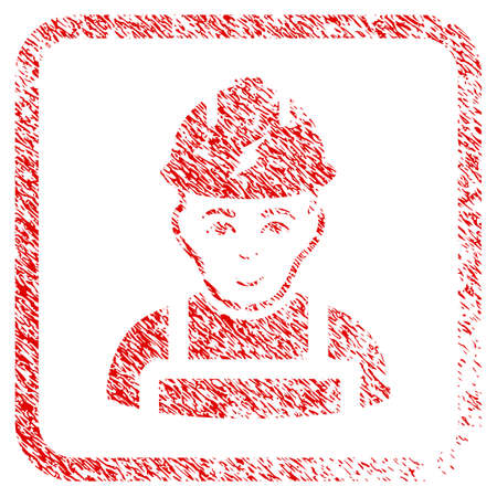 Electrician rubber seal watermark. Icon raster symbol with textured design and unclean texture in rounded rectangle. Scratched red sticker. Human face has enjoy sentiment.
