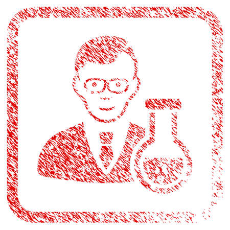 Chemist rubber seal stamp imitation. Icon raster symbol with scratched design and unclean texture in rounded squared frame. Scratched red stamp imitation. Guy face has joy emotion.