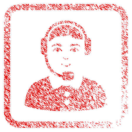 Call Center Operator rubber stamp watermark. Icon raster symbol with unclean design and corrosion texture in rounded squared frame. Scratched red sticker. Guy face has joy mood.