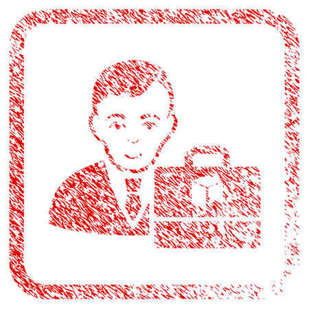 Neo Accounter rubber seal watermark. Icon raster symbol with unclean design and corrosion texture in rounded squared frame. Scratched red sticker. Human face has glad emotions.