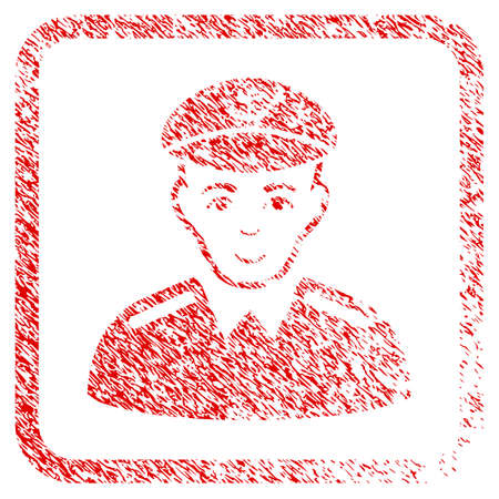 Captain rubber seal stamp watermark. Icon raster symbol with scratched design and corrosion texture inside rounded rectangle. Scratched red emblem. Human face has glad emotions.