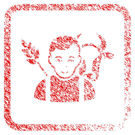 Farmer rubber seal watermark. Icon raster symbol with scratched design and dirty texture in rounded squared frame. Scratched red sticker. Guy face has joy feeling. a boy from farmer with enjoy face.