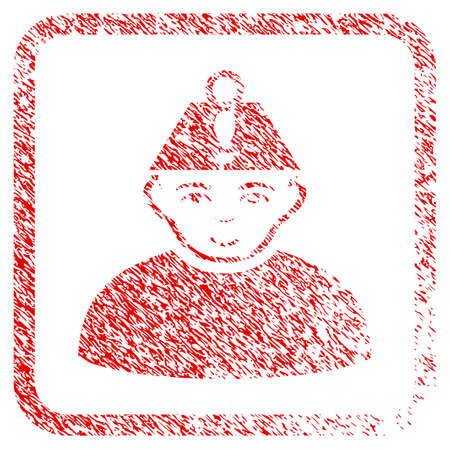Head Stress rubber seal stamp watermark. Icon raster symbol with textured design and dirty texture in rounded squared frame. Scratched red sign. Dude face has happy sentiment.