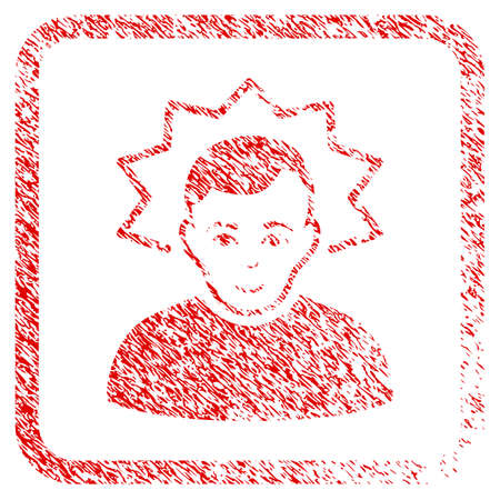 Inventor rubber stamp imitation. Icon raster symbol with scratched design and corrosion texture inside rounded rectangle. Scratched red sign. Guy face has smiling expression. Stock Photo