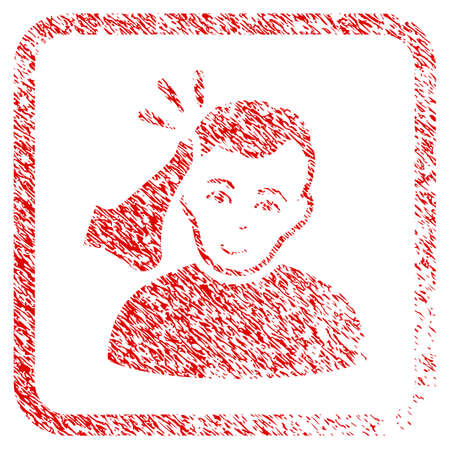Kickboxer rubber seal watermark. Icon raster symbol with unclean design and unclean texture inside rounded square. Scratched red emblem. Human face has happiness emotion.