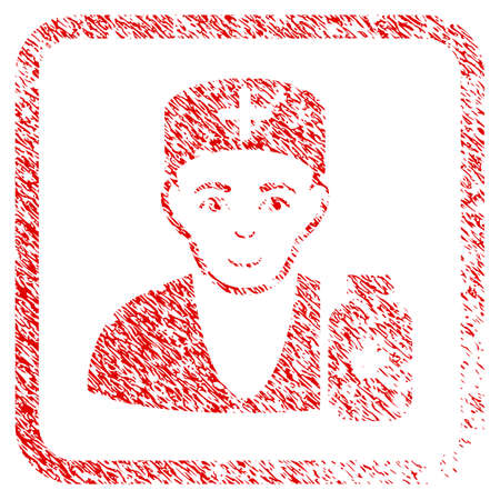 Apothecary Doctor rubber stamp watermark. Icon raster symbol with scratched design and dust texture in rounded square. Scratched red stamp imitation. Guy face has enjoy sentiment.
