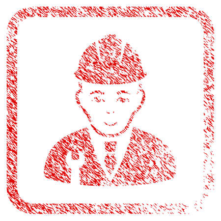 Developer rubber seal stamp watermark. Icon raster symbol with grunge design and unclean texture in rounded square frame. Scratched red sign. Male face has glad expression.