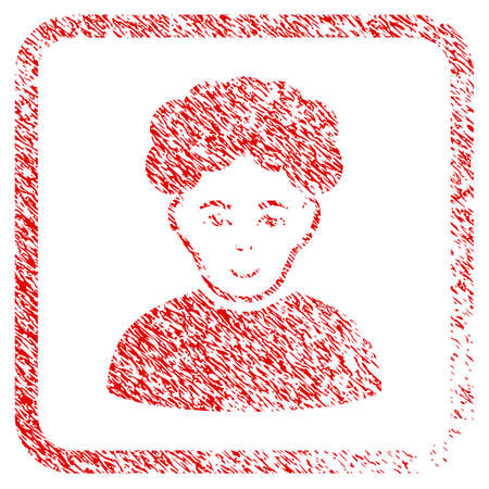 Brunet Man rubber seal imitation. Icon raster symbol with grungy design and unclean texture in rounded squared frame. Scratched red stamp imitation. Boy face has positive mood. Stock Photo