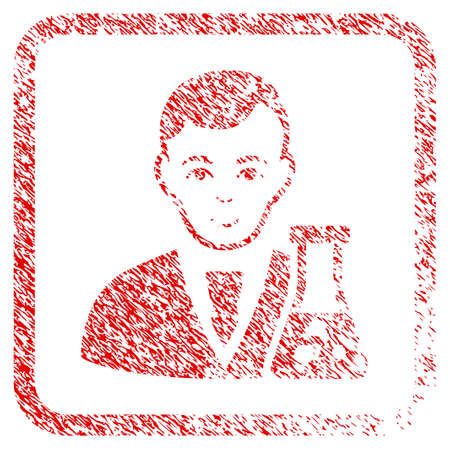 Chemical Scientist rubber seal stamp watermark. Icon raster symbol with unclean design and unclean texture in rounded squared frame. Scratched red emblem. Male face has cheerful mood. Stock Photo