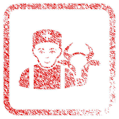 Cow Veterinarian rubber seal watermark. Icon raster symbol with unclean design and dust texture inside rounded square. Scratched red stamp imitation. Dude face has joyful emotions.