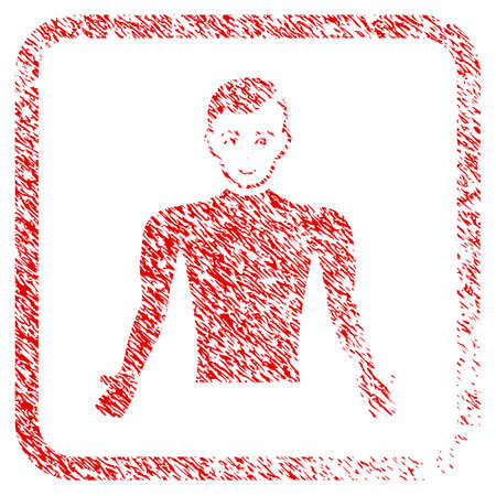 Guy Body rubber seal stamp imitation. Icon raster symbol with grunge design and corrosion texture inside rounded rectangle. Scratched red stamp imitation. Guy face has happy sentiment. Stock Photo