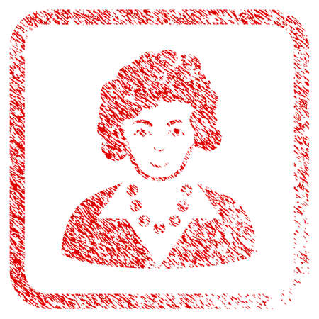 Brunette Lady rubber seal stamp imitation. Icon raster symbol with grunge design and dirty texture in rounded square. Scratched red sticker. Boy face has joy expression.