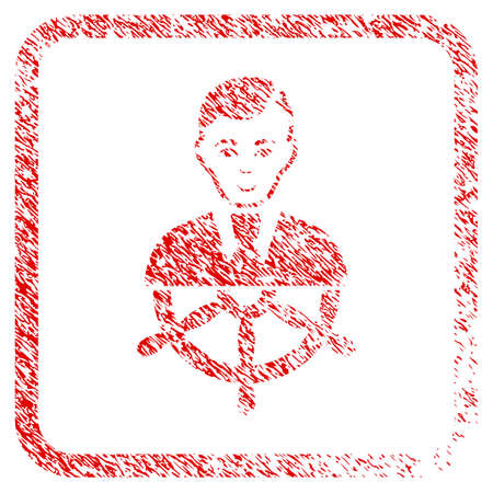 Captain rubber stamp watermark. Icon raster symbol with unclean design and corrosion texture inside rounded square frame. Scratched red sign. Human face has positive sentiment.