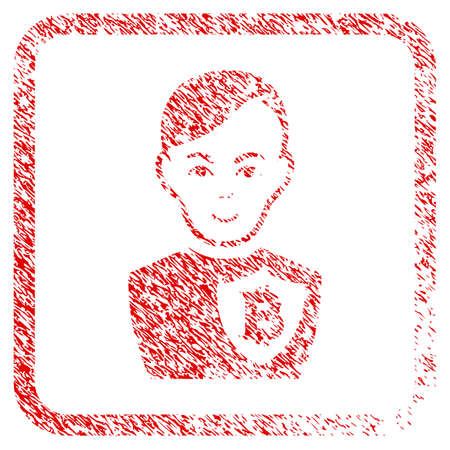 Bitcoin Police Officer rubber seal imitation. Icon raster symbol with grunge design and dirty texture in rounded squared frame. Scratched red emblem. Guy face has happiness feeling.