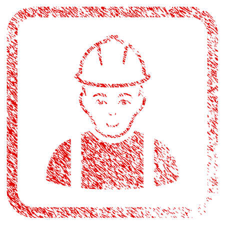 Contractor rubber seal watermark. Icon raster symbol with unclean design and dirty texture in rounded rectangle. Scratched red sticker. Boy face has happiness emotions. Stock Photo