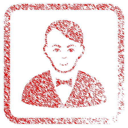 Dealer rubber seal watermark. Icon raster symbol with distress design and corrosion texture inside rounded square frame. Scratched red stamp imitation. Dude face has enjoy mood.