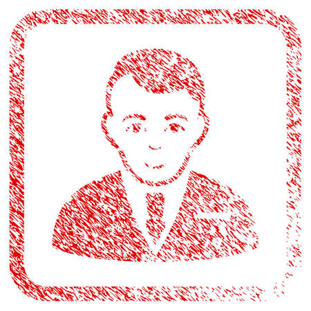 Businessman rubber stamp imitation. Icon raster symbol with textured design and unclean texture in rounded rectangle. Scratched red stamp imitation. Male face has cheerful mood.