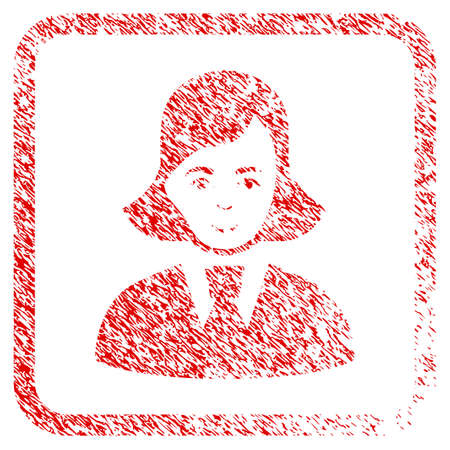 Clerk Lady rubber seal imitation. Icon raster symbol with grungy design and dust texture in rounded frame. Scratched red stamp imitation. Dude face has joyful emotions.