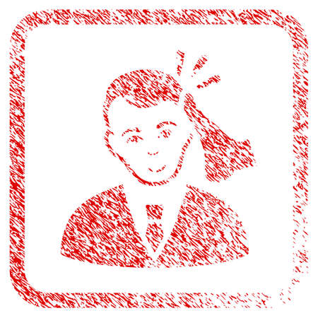 Kickboxer Victim rubber seal imitation. Icon raster symbol with unclean design and corrosion texture inside rounded rectangle. Scratched red sign. Dude face has cheerful emotions.