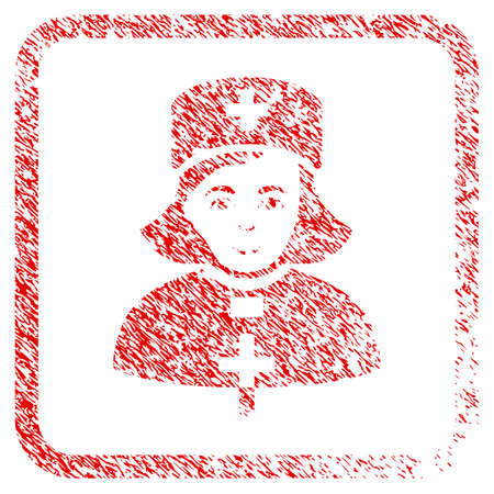 Church Female Doctor rubber seal watermark. Icon raster symbol with scratched design and dust texture in rounded square frame. Scratched red sticker. Male face has smiling emotions.