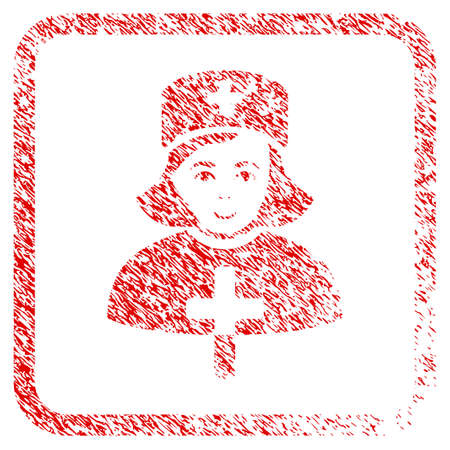 Catholic Lady Doctor rubber stamp imitation. Icon raster symbol with textured design and dust texture in rounded rectangle. Scratched red sticker. Guy face has joy emotions.