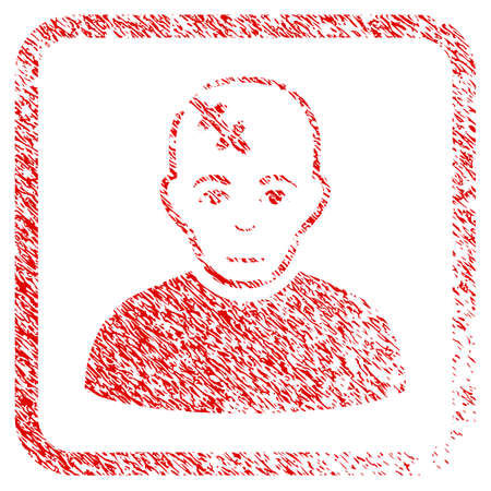 Head Hurt rubber seal imitation. Icon raster symbol with unclean design and dust texture in rounded square. Scratched red sign. Boy face has glad sentiment. a man from head hurt with happiness face.