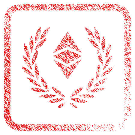 Ethereum Classic Laureal Wreath rubber seal stamp watermark. Icon raster symbol with grunge design and dirty texture in rounded frame. Scratched red sign of ethereum classic laureal wreath.