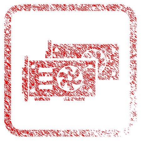 Video Graphics Gpu Cards rubber seal stamp watermark. Icon raster symbol with grunge design and unclean texture in rounded rectangle. Scratched red sticker of video graphics gpu cards.