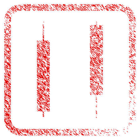 Candlesticks rubber seal stamp watermark. Icon raster symbol with grunge design and corrosion texture inside rounded rectangle. Scratched red emblem of Candlesticks.