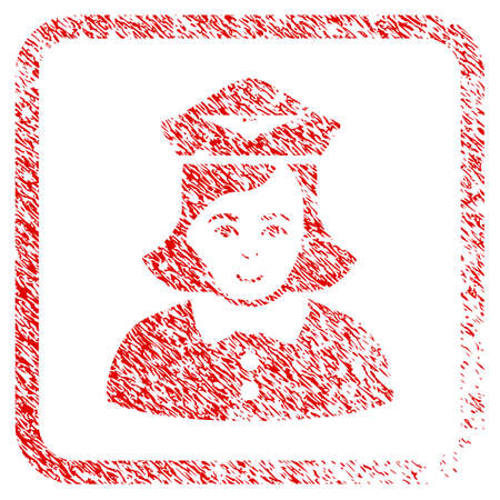 Airline Stewardess rubber stamp imitation. Icon raster symbol with unclean design and dirty texture inside rounded rectangle. Scratched red sign. Person face has gladness feeling. Stock Photo