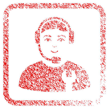 Call Center Serviceman rubber seal imitation. Icon raster symbol with textured design and dirty texture inside rounded frame. Scratched red stamp imitation. Person face has joy feeling. Stock Photo