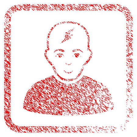 Clever Boy rubber stamp watermark. Icon raster symbol with scratched design and unclean texture inside rounded square frame. Scratched red sticker. Male face has glad expression.
