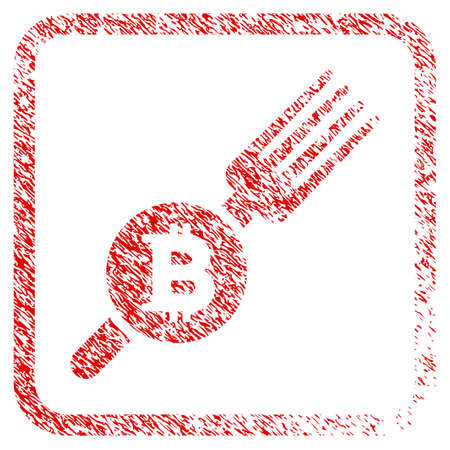 Bitcoin Fork rubber seal stamp imitation. Icon raster symbol with grunge design and dust texture inside rounded squared frame. Scratched red emblem of bitcoin fork.