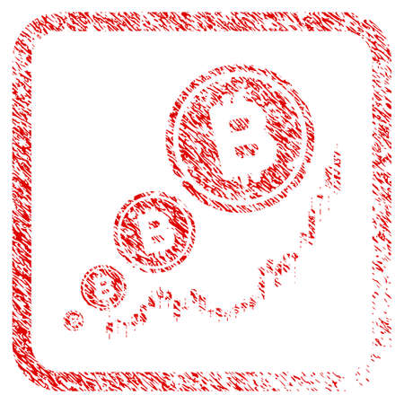 Bitcoin Inflation Chart rubber seal stamp watermark. Icon raster symbol with grunge design and corrosion texture in rounded squared frame. Scratched red stamp imitation of bitcoin inflation chart.
