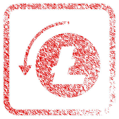 Refund Litecoin rubber seal stamp imitation. Icon raster symbol with grunge design and dirty texture in rounded square frame. Scratched red stamp imitation of refund litecoin.