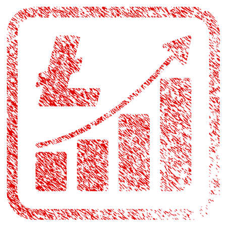 Litecoin Growth Graph rubber seal stamp watermark. Icon raster symbol with grunge design and dirty texture in rounded rectangle. Scratched red emblem of litecoin growth graph. Stock Photo