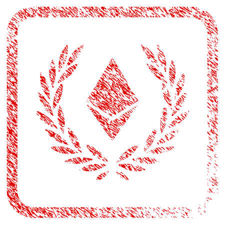 Ethereum Crystal Laureal Wreath rubber seal stamp imitation. Icon raster symbol with grunge design and corrosion texture in rounded frame. Scratched red sign of ethereum crystal laureal wreath.