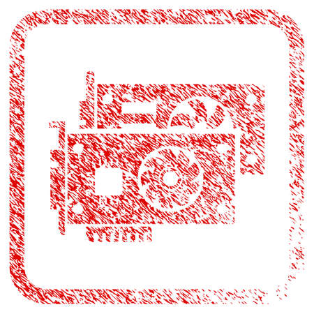 Video Graphic Cards rubber seal stamp imitation. Icon raster symbol with grunge design and corrosion texture in rounded square. Scratched red emblem of video graphic cards. Stock Photo