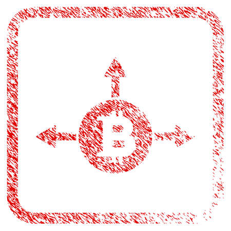 Bitcoin Variant Directions rubber seal stamp imitation. Icon raster symbol with grunge design and dirty texture in rounded frame. Scratched red sign of bitcoin variant directions. Stock Photo
