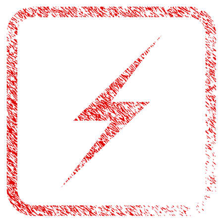 Lightning rubber seal stamp watermark. Icon raster symbol with grunge design and dust texture inside rounded squared frame. Scratched red stamp imitation of lightning. Stock Photo