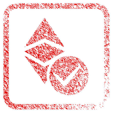 Valid Ethereum Classic rubber seal stamp watermark. Icon raster symbol with grunge design and unclean texture inside rounded square. Scratched red sign of valid ethereum classic. Reklamní fotografie