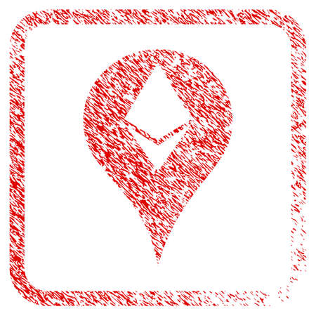 Ethereum Map Marker rubber seal stamp imitation. Icon raster symbol with grunge design and dirty texture inside rounded square. Scratched red emblem of ethereum map marker.