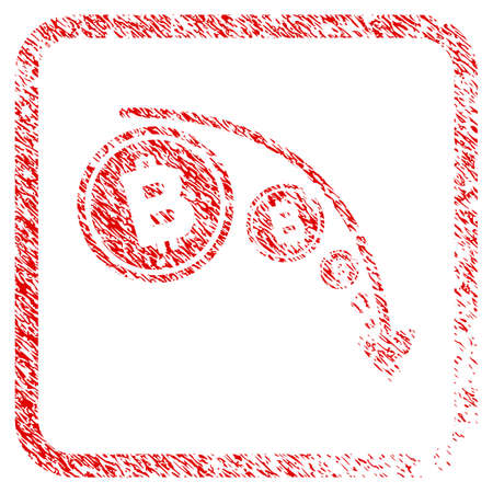 Bitcoin Reduce Trend rubber seal stamp imitation. Icon raster symbol with grunge design and dust texture in rounded square. Scratched red sticker of bitcoin reduce trend.