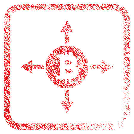 Bitcoin Directions rubber seal stamp imitation. Icon raster symbol with grunge design and corrosion texture inside rounded square. Scratched red sign of bitcoin directions.